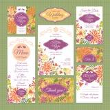 Uppsättning av bröllopkort Royaltyfri Bild