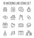 Uppsättning av bröllopsymboler i den moderna tunna linjen stil Arkivbilder