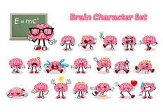 Uppsättning av Brain Cartoon Character Arkivfoton