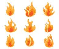 Uppsättning av brand, flammavektor Arkivfoto