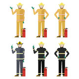 Uppsättning av brandmän vektor illustrationer
