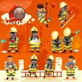 Uppsättning av brandmannen på arbete Royaltyfri Bild
