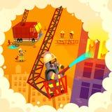 Uppsättning av brandmannen på arbete Arkivbild