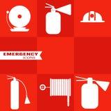 Uppsättning av brandvektorsymboler på röd bakgrund stock illustrationer