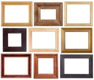 Uppsättning av 9 breda träbildramar för PC Fotografering för Bildbyråer