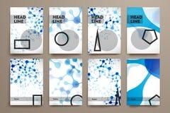 Uppsättning av broschyren, affischdesignmallar i DNA Royaltyfri Bild
