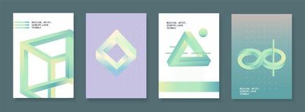 Uppsättning av broschyrer i tappningstil med effekt för optisk illusion Vektordesignmallar Fotografering för Bildbyråer