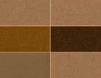 Uppsättning av bruna texturer Fotografering för Bildbyråer