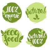 Uppsättning av bubblor, klistermärkear, etiketter, etiketter med text naturlig 100%, organisk 100%, ecomat stock illustrationer
