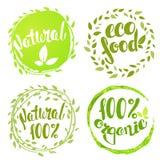 Uppsättning av bubblor, klistermärkear, etiketter, etiketter med text 100% naturligt p stock illustrationer