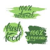 Uppsättning av bubblor, klistermärkear, etiketter, etiketter med text Organisk mat b Royaltyfria Bilder