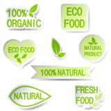 Uppsättning av bubblor, klistermärkear, etiketter, etiketter med text Organisk mat b Arkivbilder