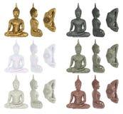 Uppsättning av Buddhastatyetter som isoleras på vit bakgrund i material av guld, marmor, sten, granit, keramik Buddha i lotusblom Arkivfoton