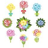 Uppsättning av buketter av blommor Arkivbilder