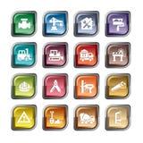 Uppsättning av byggande av Simbols i plan design Royaltyfria Foton