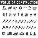 Uppsättning av byggande av Simbols i plan design Arkivbild