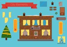 Uppsättning av byggnadsbeståndsdelar, lägenhetdesign stock illustrationer