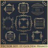 Uppsättning av calligraphic blom- guld- ramar för tappning stock illustrationer