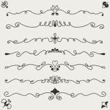 Uppsättning av calligraphic designbeståndsdelar Arkivfoton