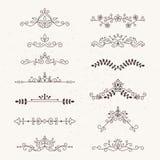 Uppsättning av calligraphic designbeståndsdelar stock illustrationer