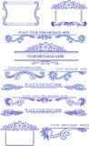 Uppsättning av calligraphic designbeståndsdelar för blått Arkivbild