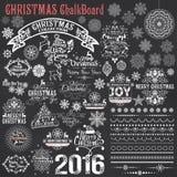 Uppsättning av calligraphic designbeståndsdelar för jul stock illustrationer