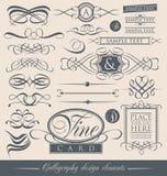 Uppsättning av calligraphic designbeståndsdelar för tappning och vektorsidagarneringar. Arkivfoton