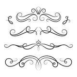 Uppsättning av calligraphic karaktärsteckningar för tappning vektor illustrationer