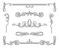 Uppsättning av calligraphic karaktärsteckningar och avdelare för tappning vektor illustrationer