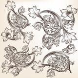 Uppsättning av calligraphic krusidullar och virvlar för vektor royaltyfri illustrationer
