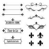 Uppsättning av calligraphic krusidulldesignbeståndsdelar, gränser och ramar - fleur de lis Royaltyfria Bilder