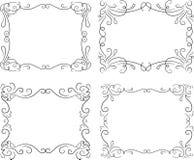 Uppsättning av 4 calligraphic vektortappningramar Garnering som är utsmyckad stock illustrationer