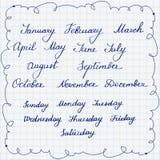 Uppsättning av callygraphic namn av veckadagar och månader Arkivbilder