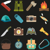 Uppsättning av campa symboler Fotografering för Bildbyråer