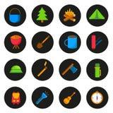 Uppsättning av campa symboler för tecknad film Arkivfoton