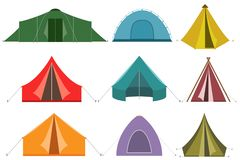 Uppsättning av campa tältsymboler vektor illustrationer