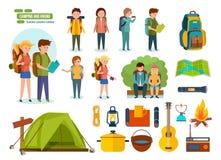 Uppsättning av campa utrustning, fotvandrare, klättrare, för aktiv rekreation, folk stock illustrationer