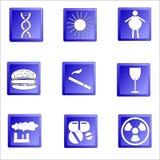 Uppsättning av cancersymboler, anledningsod-desease Royaltyfria Foton