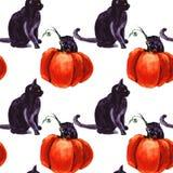 Uppsättning av Cat Cartoon With Different Actions, allhelgonaafton royaltyfri illustrationer