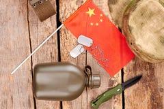 Uppsättning av chineese armésoldatobjekt Arkivbilder