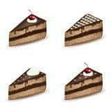 Uppsättning av chokladglasyrkakor Royaltyfri Illustrationer