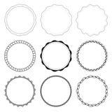 Uppsättning av 9 cirkeldesignramar Arkivbild
