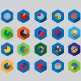 Uppsättning av cirkeldiagram för rapporter och statistik i plan design med långa skuggor Fotografering för Bildbyråer