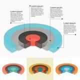 Uppsättning av cirkeldiagram i isometriskt perspektiv Arkivfoton