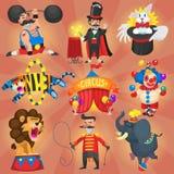 Uppsättning av cirkus- och karnevalkonstnärer Fotografering för Bildbyråer