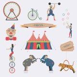 Uppsättning av cirkuslägenhetsymboler Arkivbild