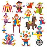 Uppsättning av clowner i cirkus Arkivbild