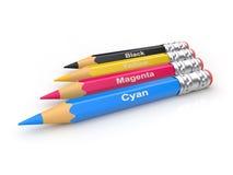 Uppsättning av CMYK-blyertspennor Arkivfoto