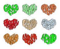 Uppsättning av coctailnamn som märker i hjärta - Gin Fizz, kosmopolit, Pina Colada som är gammalmodig, Mojito, Manhattan stock illustrationer