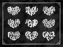 Uppsättning av coctailnamn som märker i hjärta - Gin Fizz, kosmopolit, Pina Colada som är gammalmodig, Mojito, Manhattan royaltyfri illustrationer